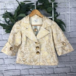 Cache Beige and Gold Floral Button Up Blazer